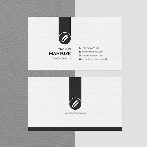 最小限の名刺テンプレートホワイト&ブラック Premium Psd