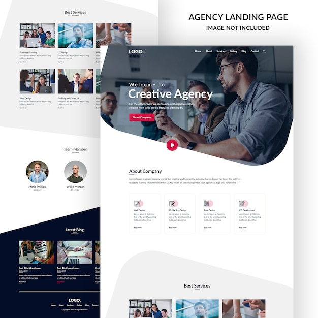Корпоративный и креативный дизайн агентства, баннер целевой страницы Premium Psd