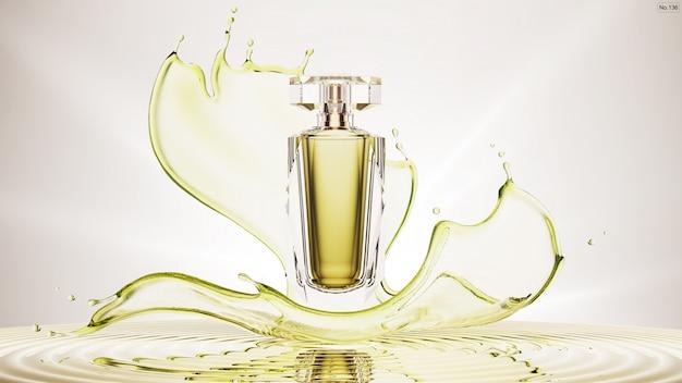 緑の水のしぶきと高級製品 Premium Psd