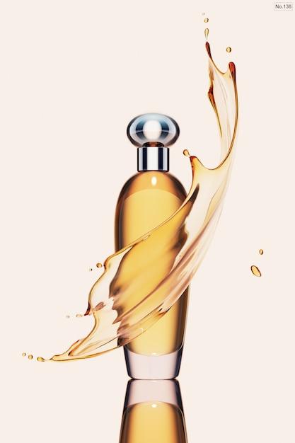 黄色の水のしぶきと高級製品 Premium Psd