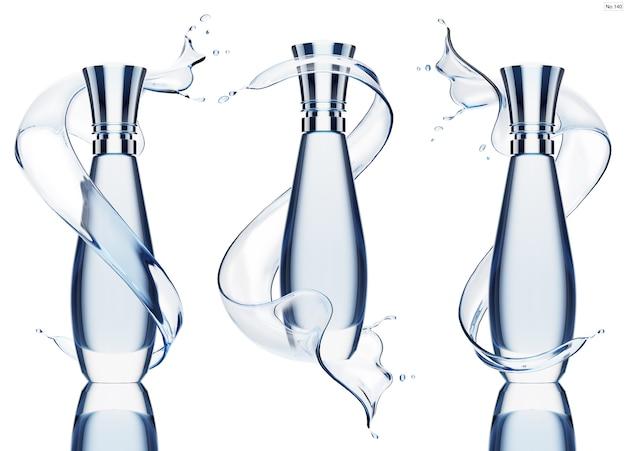 青い水のしぶきと高級製品 Premium Psd