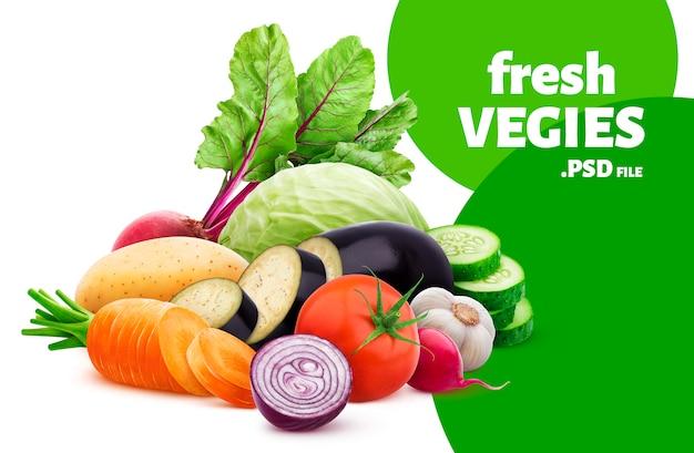 白い背景に分離されたさまざまな野菜のミックス Premium Psd
