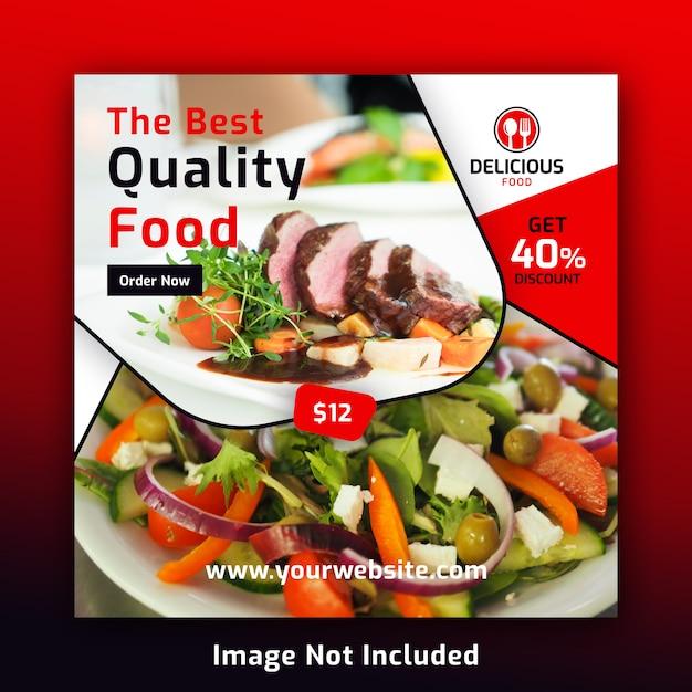 Еда социальные медиа пост баннер шаблон для ресторана Premium Psd