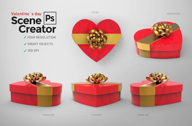 バレンタイン・デー。シーン作成者。閉じたボックス。デザインリソース。 Premium Psd