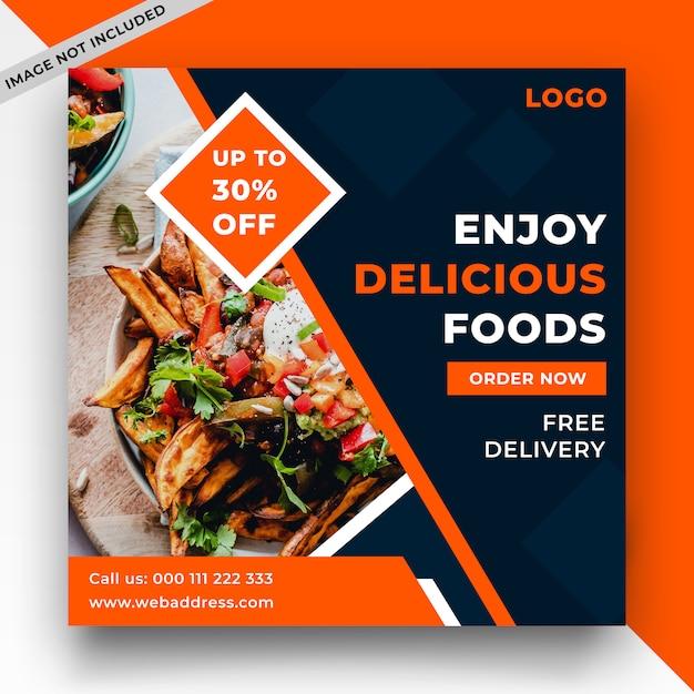 Пищевой веб-баннер и пост в социальных сетях Premium Psd