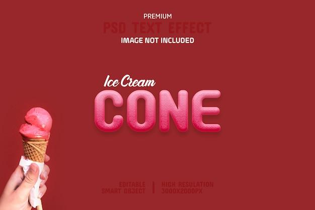 編集可能なアイスクリームコーンのテキスト効果テンプレート Premium Psd