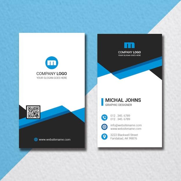 Креативная корпоративная вертикальная визитная карточка Premium Psd