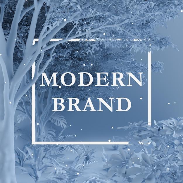紙カードメモを使って木や植物で作られた創造的なレイアウトの青い色。自然のコンセプト Premium Psd