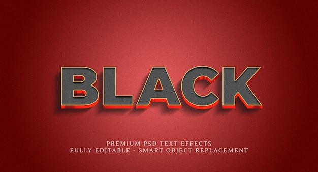Эффект стиля черного текста Premium Psd