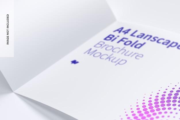 横型二つ折りパンフレットのモックアップ Premium Psd