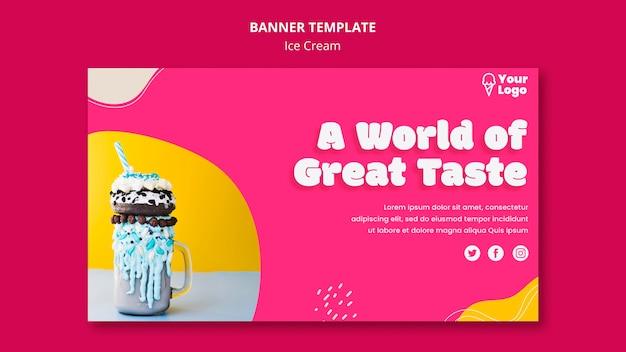 Шаблон баннера мороженого с великолепным вкусом Бесплатные Psd