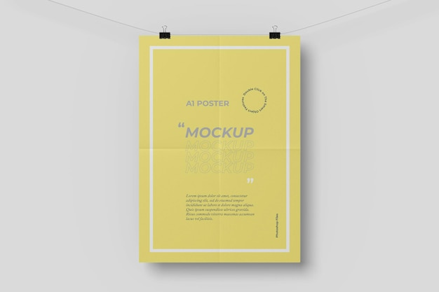 접는 효과가있는 a1 포스터 목업 무료 PSD 파일