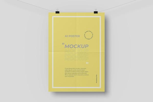 A1 poster mockup con effetto pieghevole Psd Gratuite