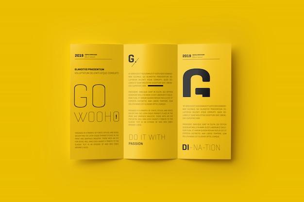 A4 3つ折りパンフレットモックアップ Premium Psd