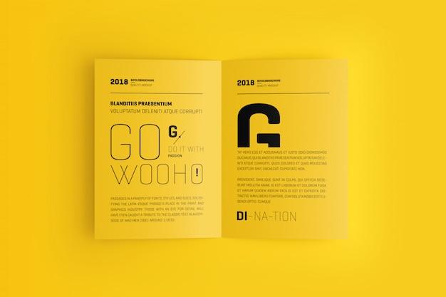 A4 / a5二つ折りパンフレットモックアップ Premium Psd