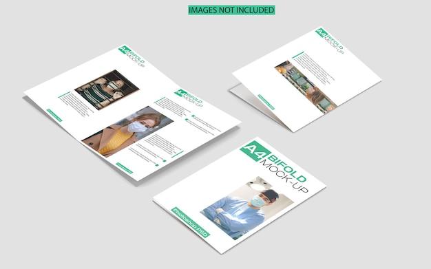 Двойной макет брошюры a4 на мраморном виде сверху Premium Psd