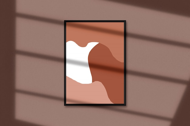 A4  blank picture frame for photographs, art, graphics with leaves shadow overlay. isolated picture frame mockup Premium Psd