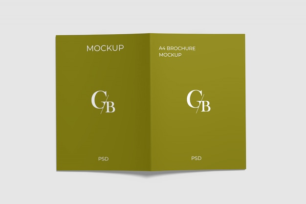 A4パンフレットモックアップトップアングル Premium Psd