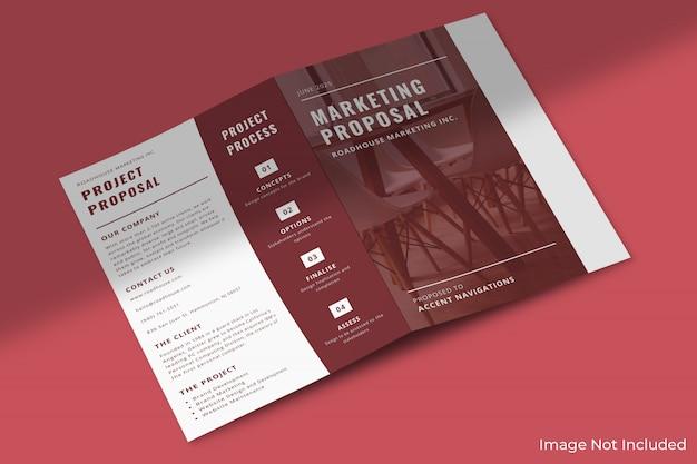 A4ビジネス2つ折りパンフレットのモックアップ Premium Psd
