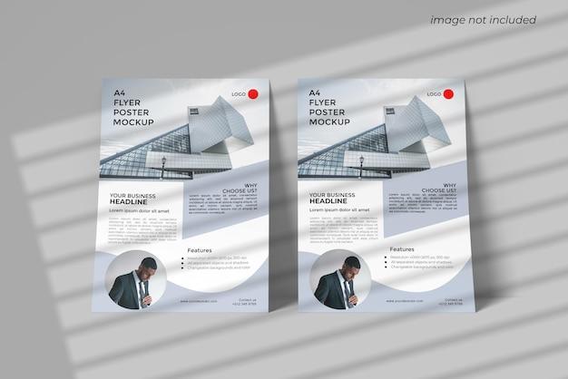 전면 천사보기와 A4 전단지 모형 디자인 렌더링 프리미엄 PSD 파일