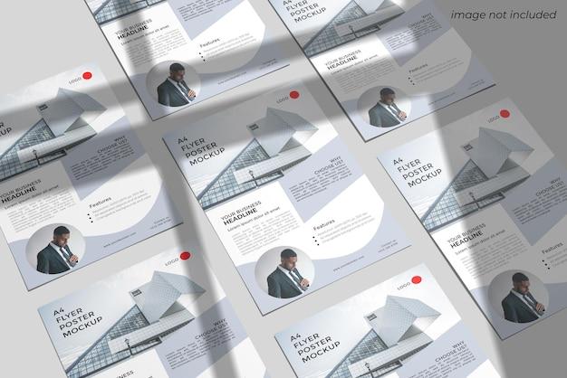 A4 전단지 모형 디자인 렌더링 프리미엄 PSD 파일