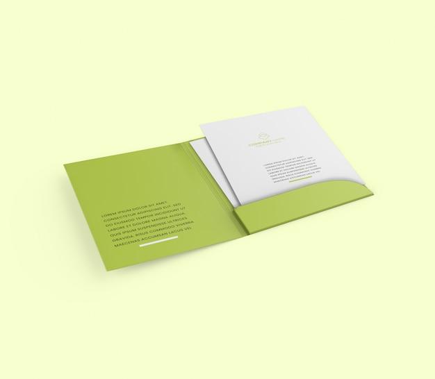 A4フォルダーパンフレットモックアップ Premium Psd