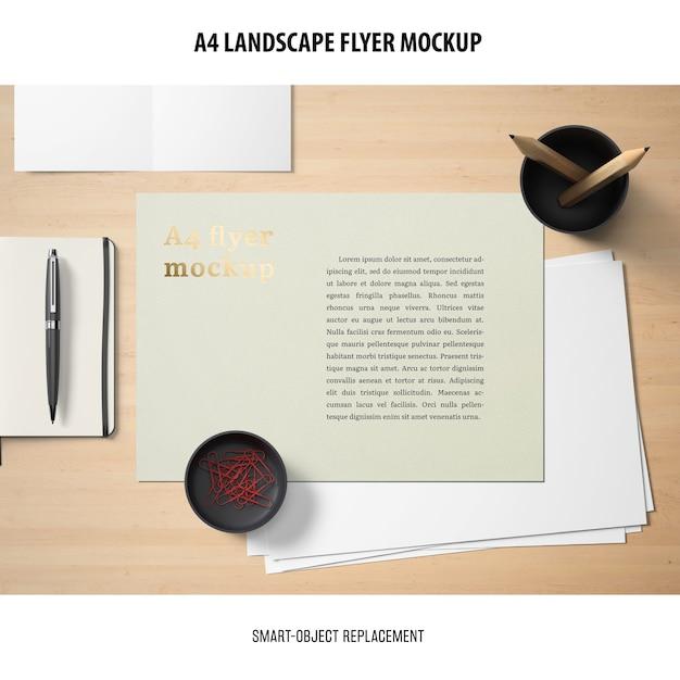 A4 landscape flyer mockup Free Psd