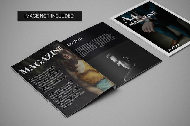 왼쪽 측면에 커버 모형이있는 A4 잡지 모형 프리미엄 PSD 파일