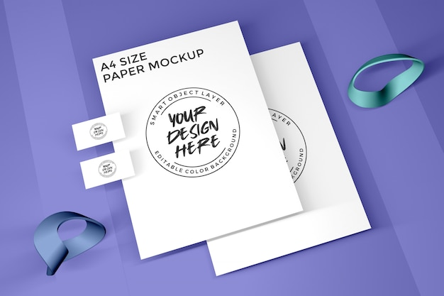 A4 paper and business card mockup Premium Psd