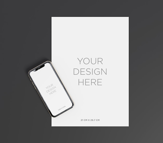 A4 paper mockup with smartphone top view Premium Psd
