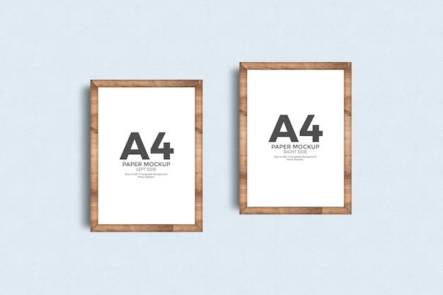 벽 이랑에 A4 종이 포스터 프레임 프리미엄 PSD 파일