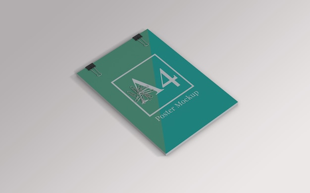 A4 poster mockup with binder clip and paper clip left view Premium Psd