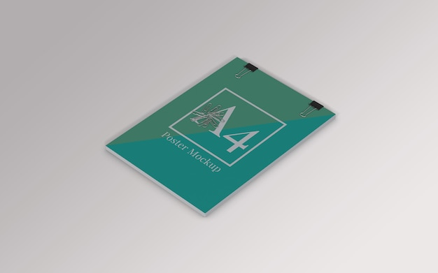 A4 poster mockup with binder clip and paper clip right view Premium Psd
