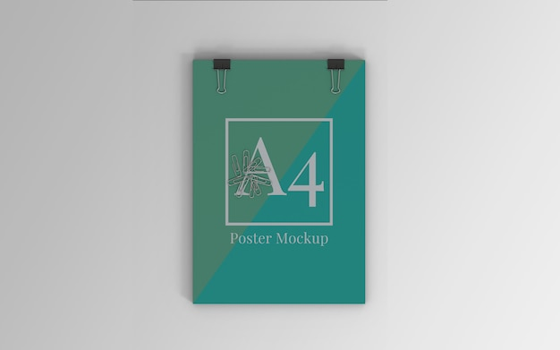A4 poster mockup with binder clip and paper clip top view Premium Psd