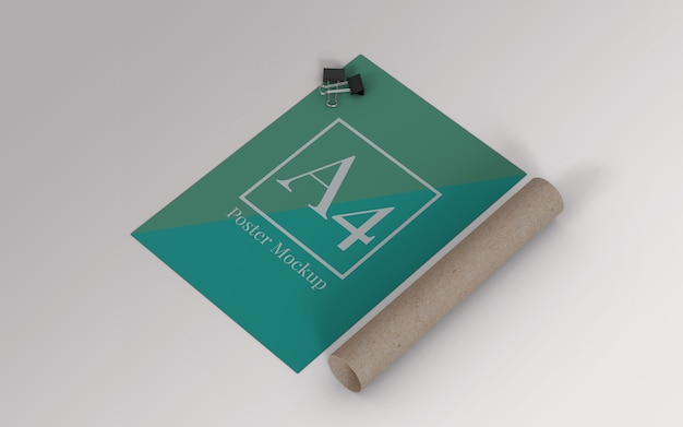 A4 poster mockup with binder clip and roll cardboard right view Premium Psd