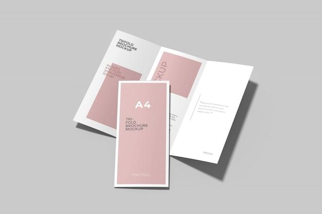 A4三つ折りパンフレットモックアップセットハイエンジェルビュー Premium Psd