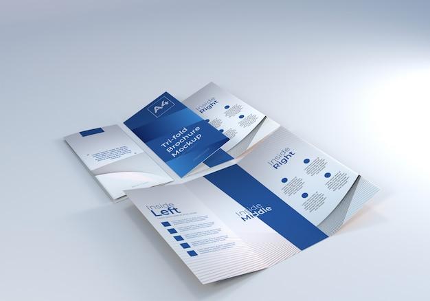 プレゼンテーション用a4 3つ折りパンフレット紙モックアップ Premium Psd