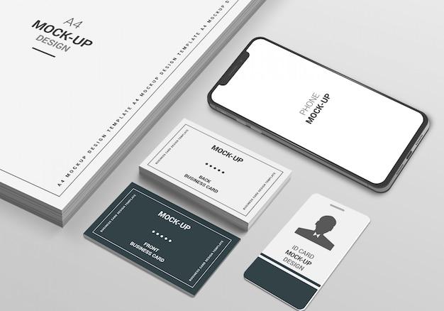 A4ページの電話と名刺のモックアップ Premium Psd