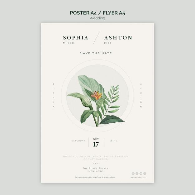 エレガントな結婚式ポスターa4テンプレート 無料 Psd