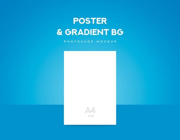 白いポスター紙やチラシa4サイズと青のグラデーションの背景 Premium Psd