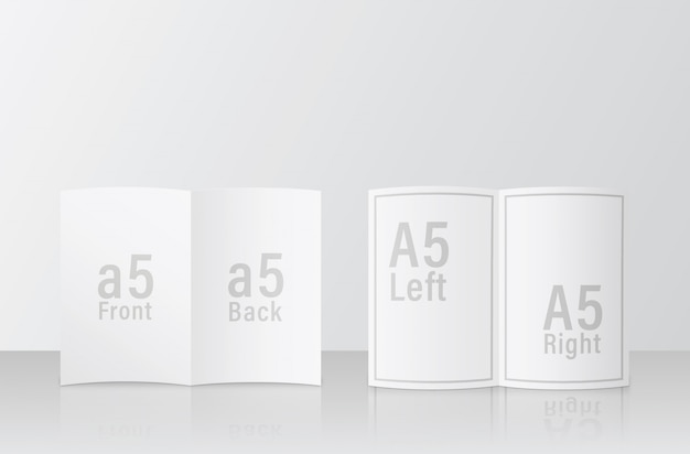 A5 브로셔 모형. 2 페이지 다른 얼굴 쉽게 유용한 Psd 모형 템플릿 디자인. A5 / A5 크기 모형 Psd 파일 프리미엄 PSD 파일