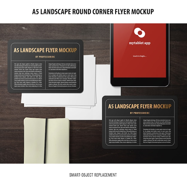 A5 flyer mockup orizzontale Psd Gratuite