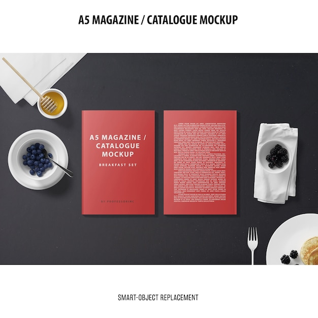A5 magazine catalogue mockup Free Psd
