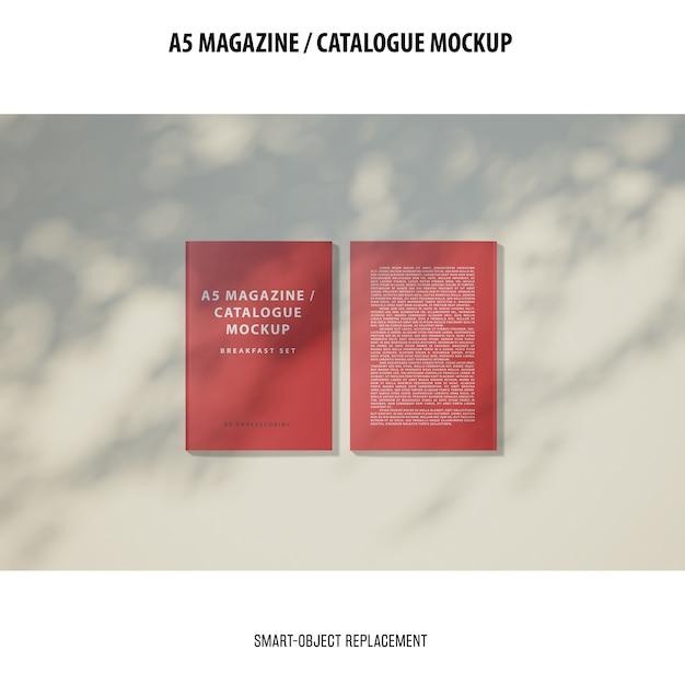 A5 magazine catalogue mockup Free Psd