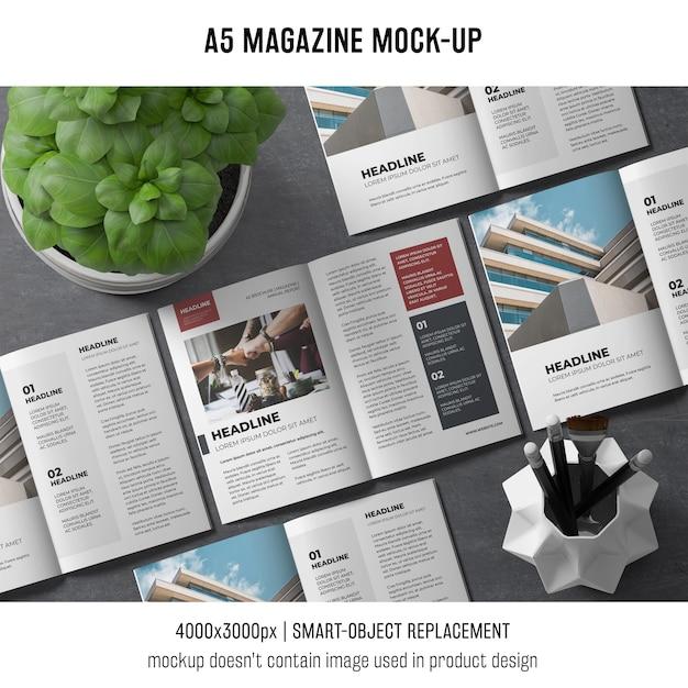 바질 공장 a5 잡지 모형 무료 PSD 파일