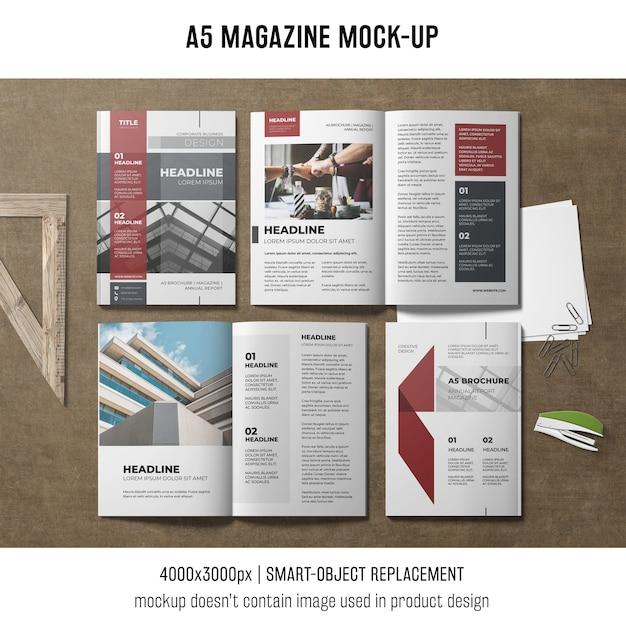 A5 잡지 모형 무료 PSD 파일
