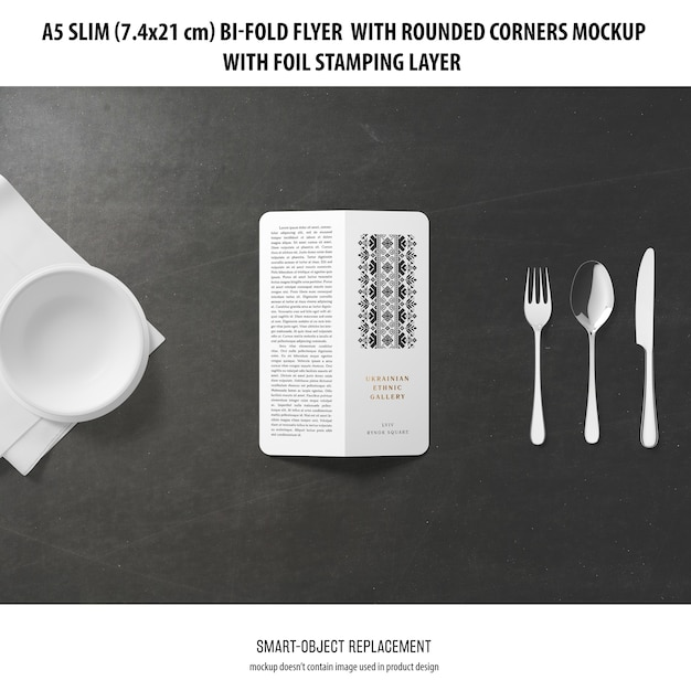 A5 slim bi-fold flyer mockup Free Psd