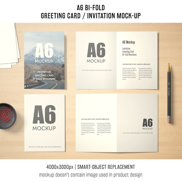 A6 Bi Fold Greeting Card Mockup Design Free Psd