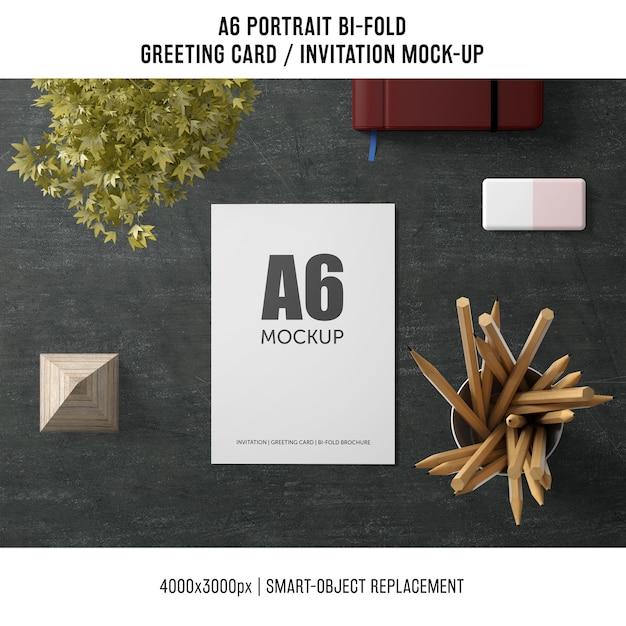 A6 bi-fold greeting card mockup Free Psd