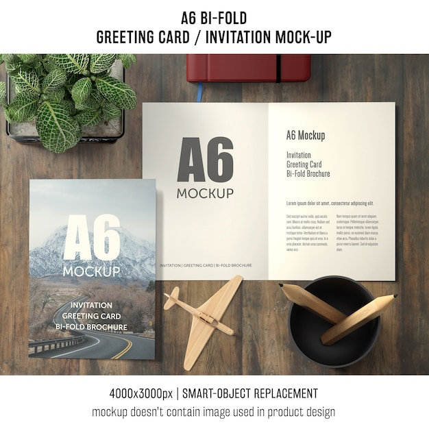 A6 bi-fold greeting card template with basil plant Free Psd